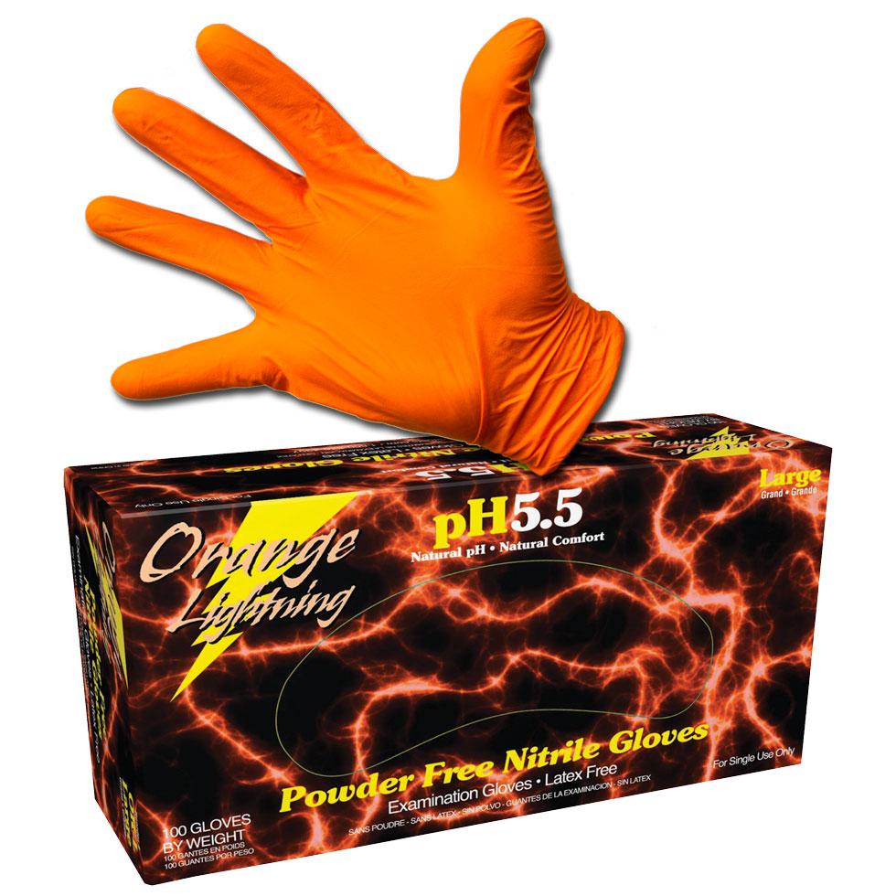 Orange Lightning Nitrile Gloves - Box (50 Pairs) - Large