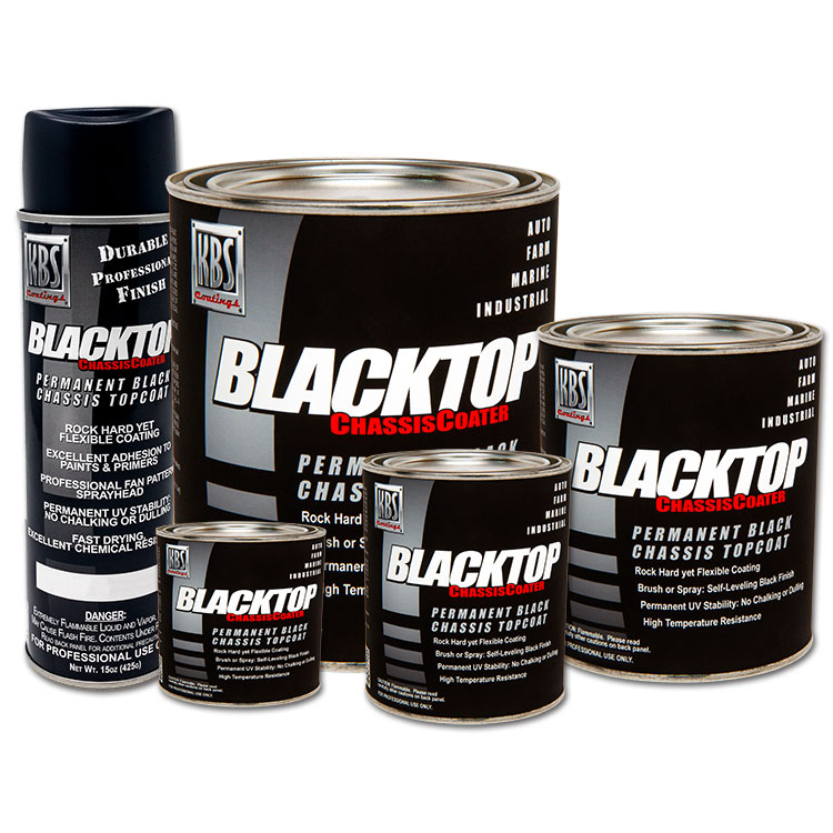 BlackTop Chassis Paint - 1K Coating - Brush Roll or Spray - Single Component UV Stable Top Coat