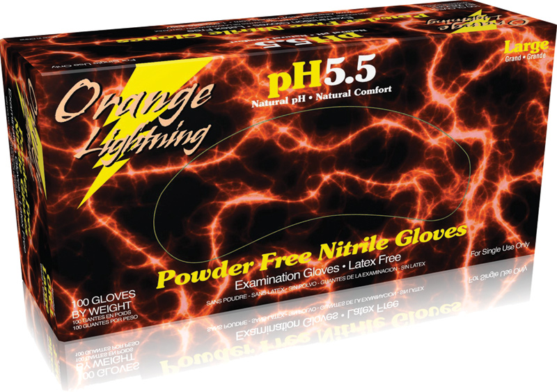 Orange Lightning Nitrile Gloves