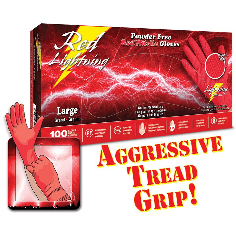 Red Lightning Nitrile Gloves Extra Grip Disposable Nitrile Gloves