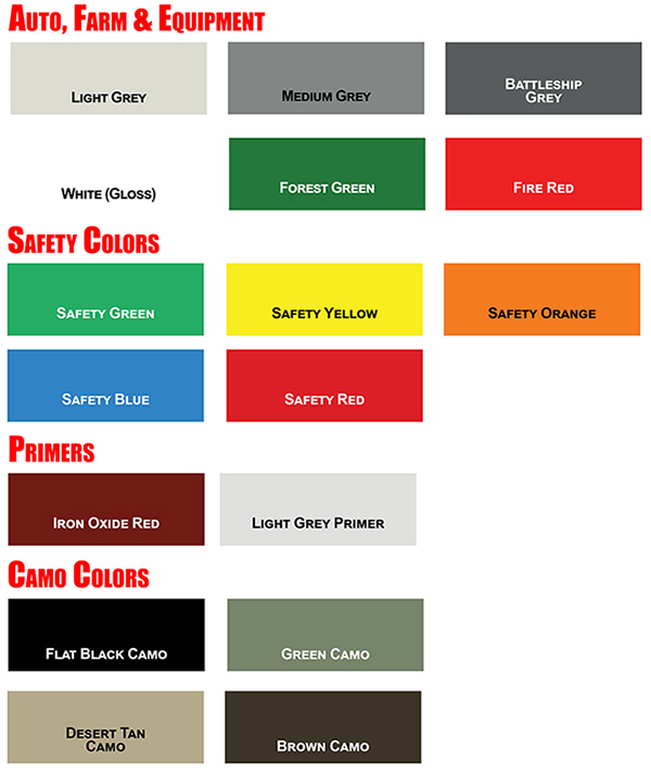 KBS Top Coater Color Chart